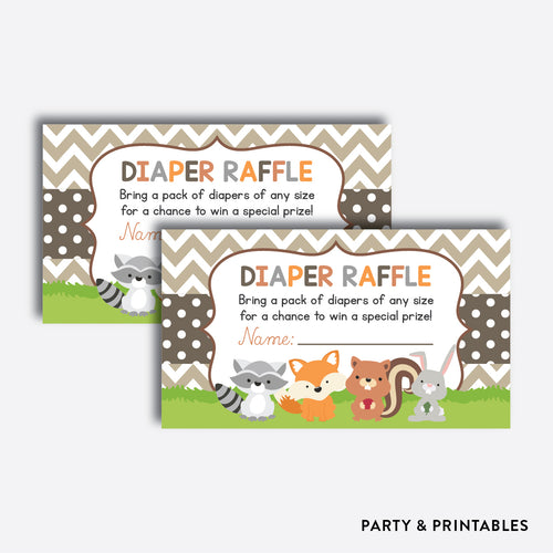 Woodland Diaper Raffle / Non-Personalized / Instant Download (SBS.33)