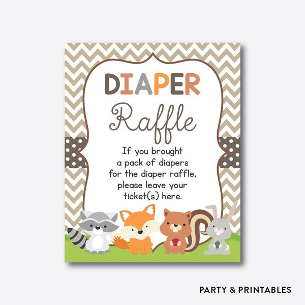 Woodland Diaper Raffle / Non-Personalized / Instant Download (SBS.33), party printables - Party and Printables
