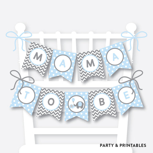 Blue Elephant Chair Banner / Baby Shower Banner / Non-Personalized / Instant Download (SBS.35)