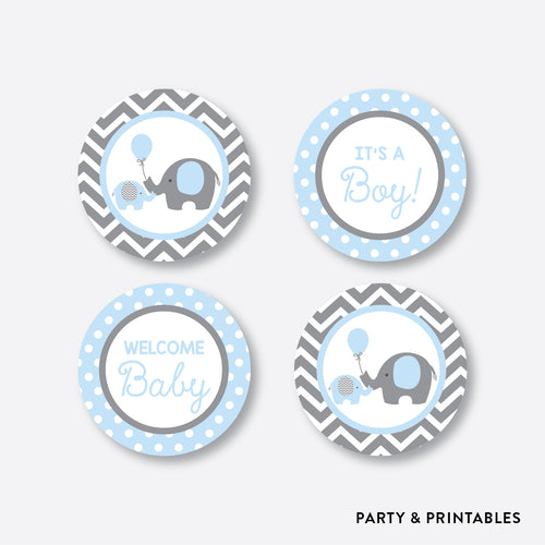 Elephant Cupcake Toppers / Non-Personalized / Instant Download (SBS.35)