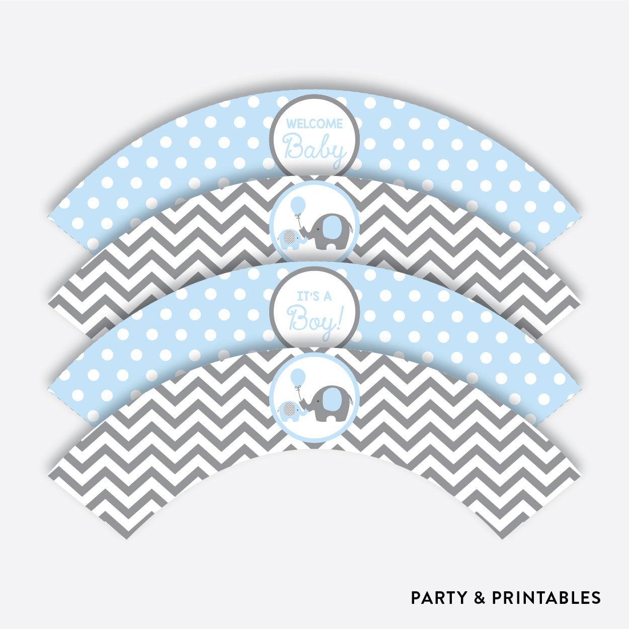 Elephant Cupcake Wrappers / Non-Personalized / Instant Download (SBS.35), party printables - Party and Printables