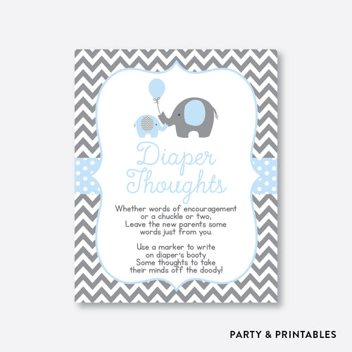 Elephant Diaper Thoughts / Non-Personalized / Instant Download (SBS.35)