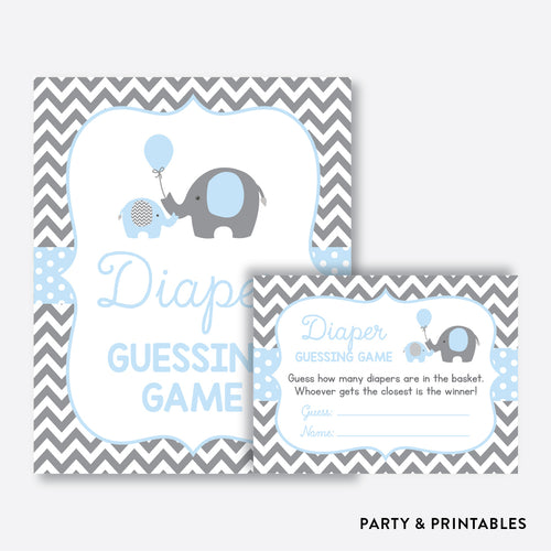 Elephant Guess How Many Diapers / Non-Personalized / Instant Download (SBS.35)