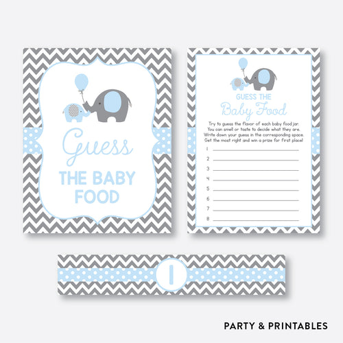 Elephant Guess The Baby Food / Non-Personalized / Instant Download (SBS.35)