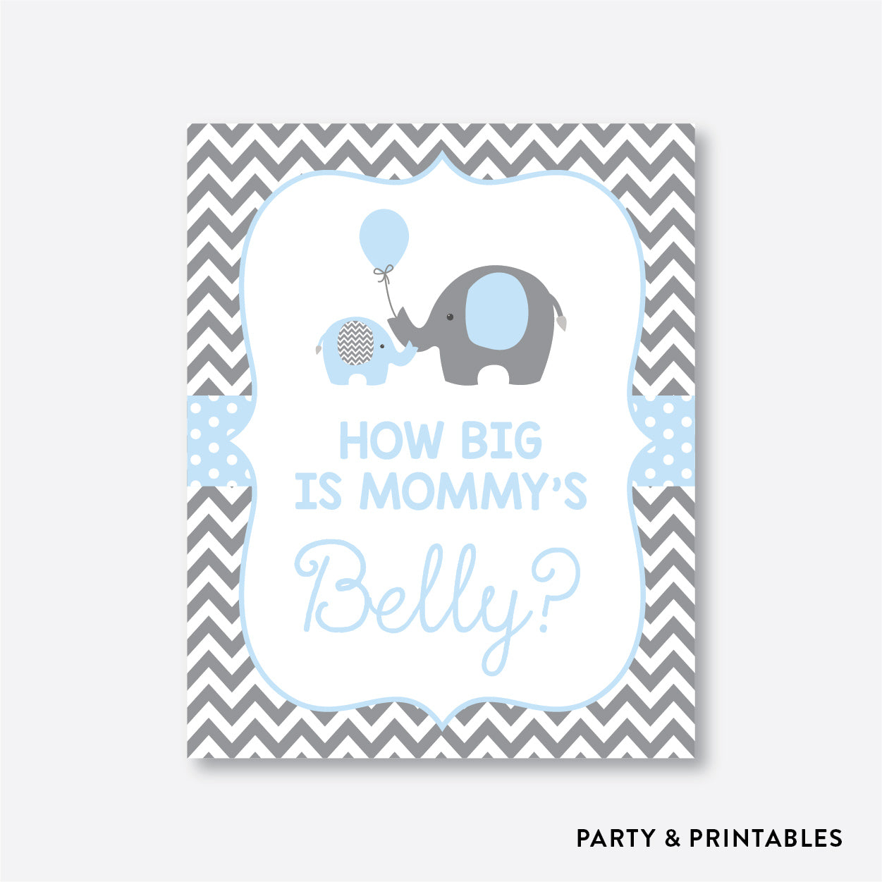 Elephant How Big is Mommy's Belly / Non-Personalized / Instant Download (SBS.35)