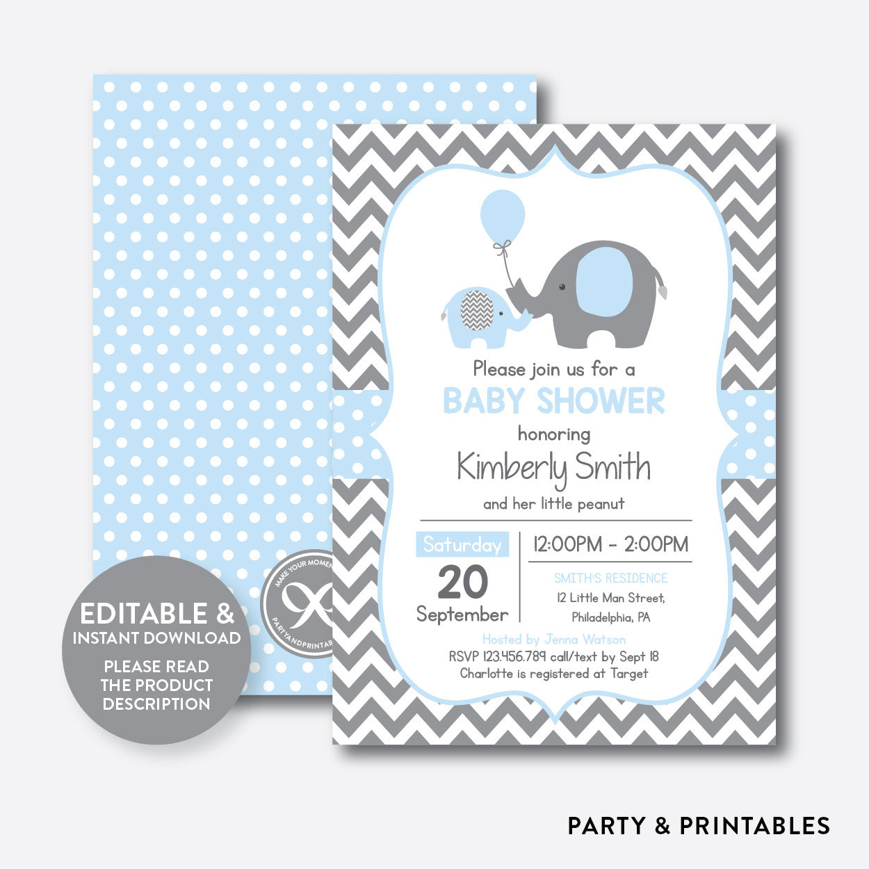 Elephant Baby Shower Invitation / Editable / Instant Download (SBS.35)
