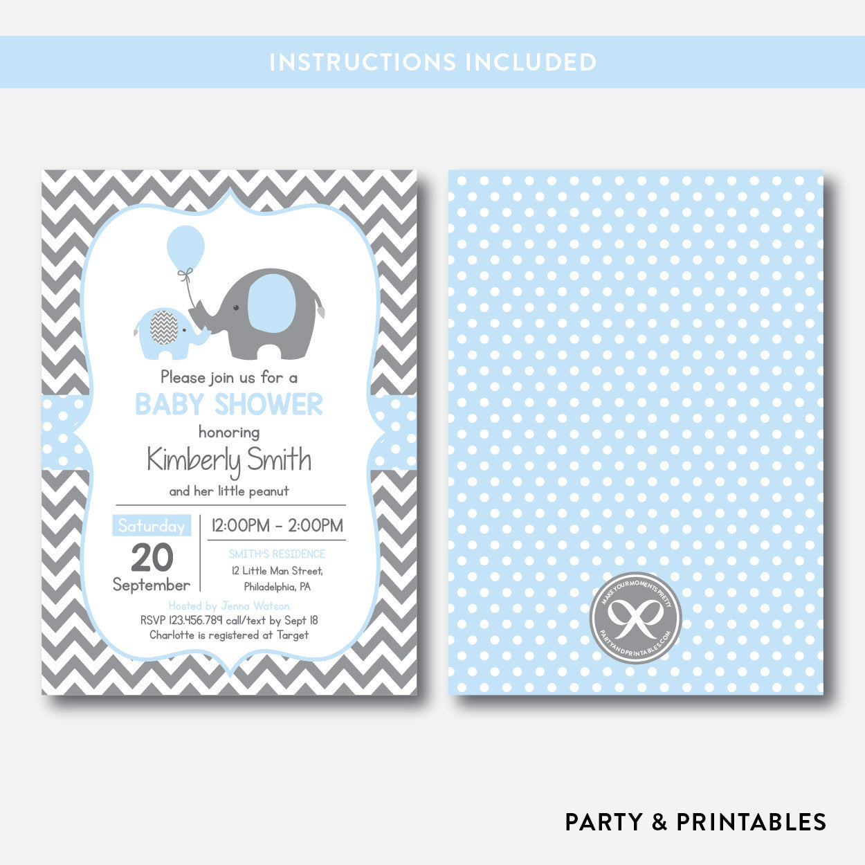 Elephant Baby Shower Invitation / Editable / Instant Download (SBS.35), invitation - Party and Printables