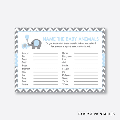 Elephant Name The Baby Animals / Non-Personalized / Instant Download (SBS.35)