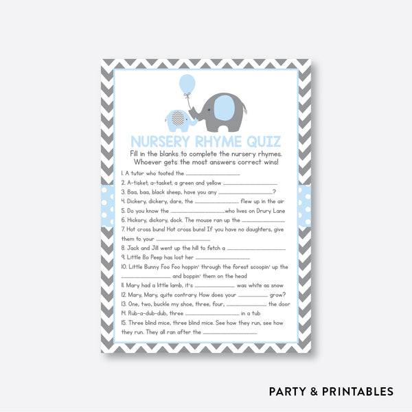 Elephant Nursery Rhyme Quiz / Non-Personalized / Instant Download (SBS.35)