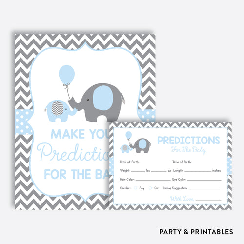 Blue Elephant Predictions For The Baby / Non-Personalized / Instant Download (SBS.35)