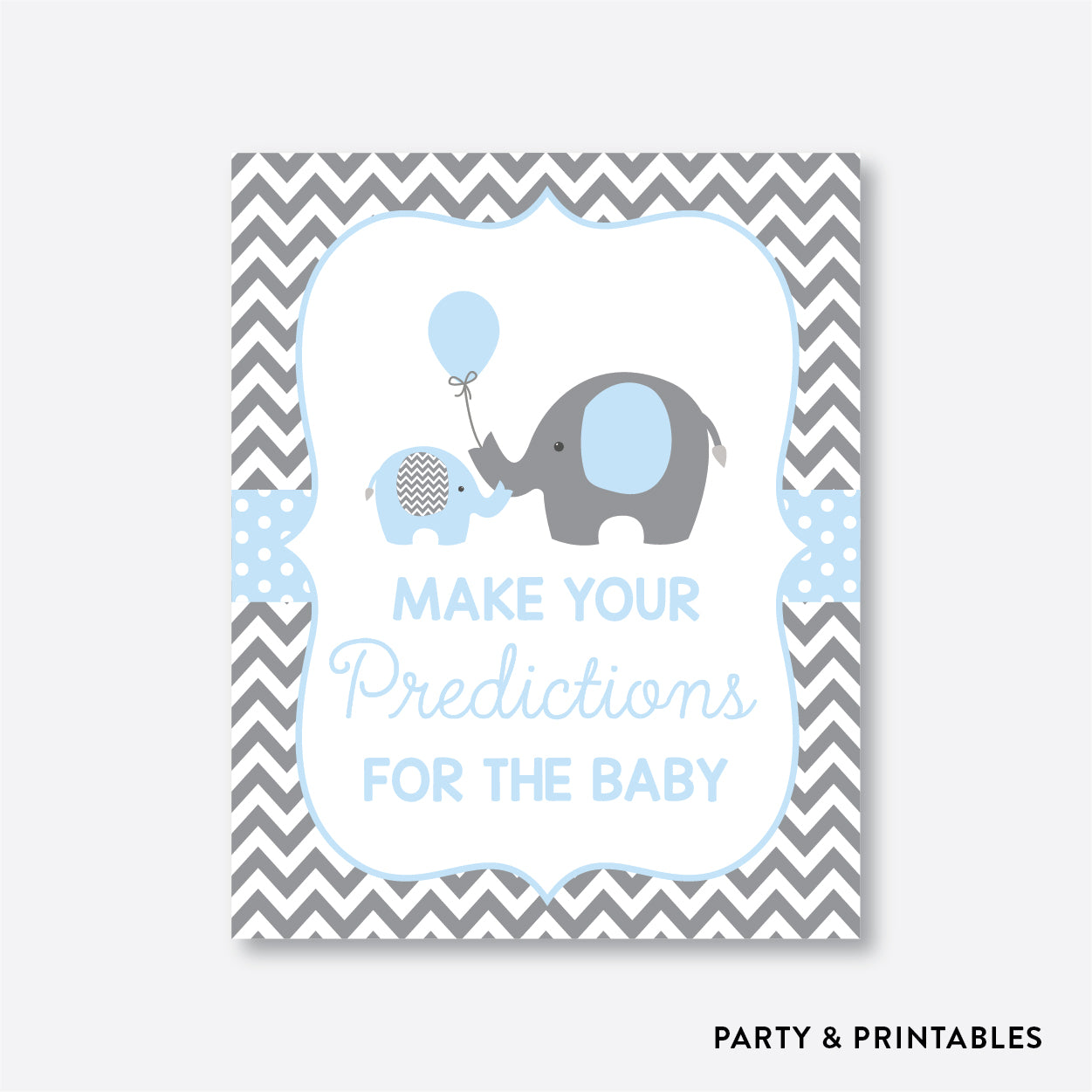 Elephant Predictions For The Baby / Non-Personalized / Instant Download (SBS.35)