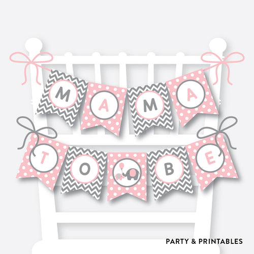 Pink Elephant Chair Banner / Baby Shower Banner / Non-Personalized / Instant Download (SBS.36)