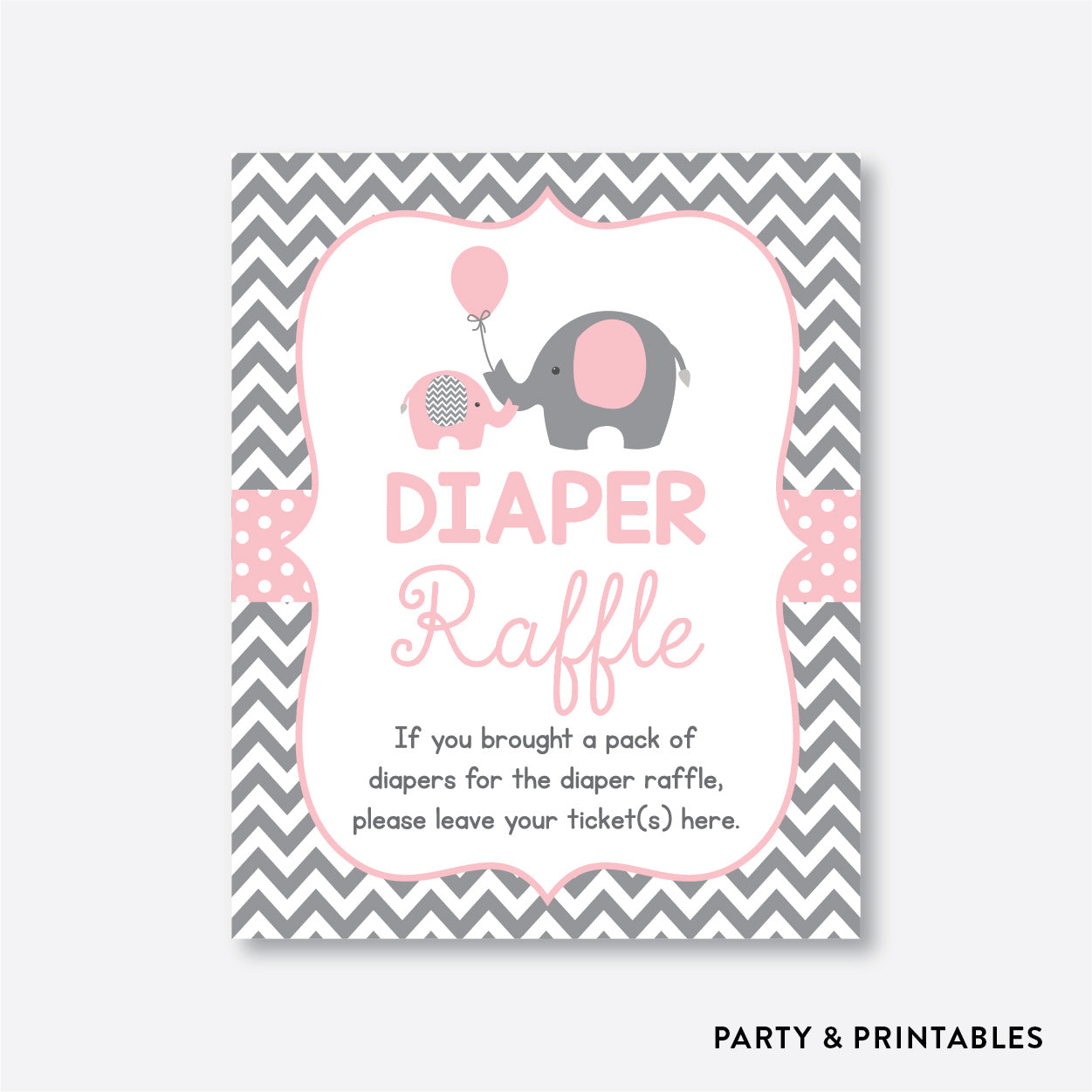 Elephant Diaper Raffle / Non-Personalized / Instant Download (SBS.36)