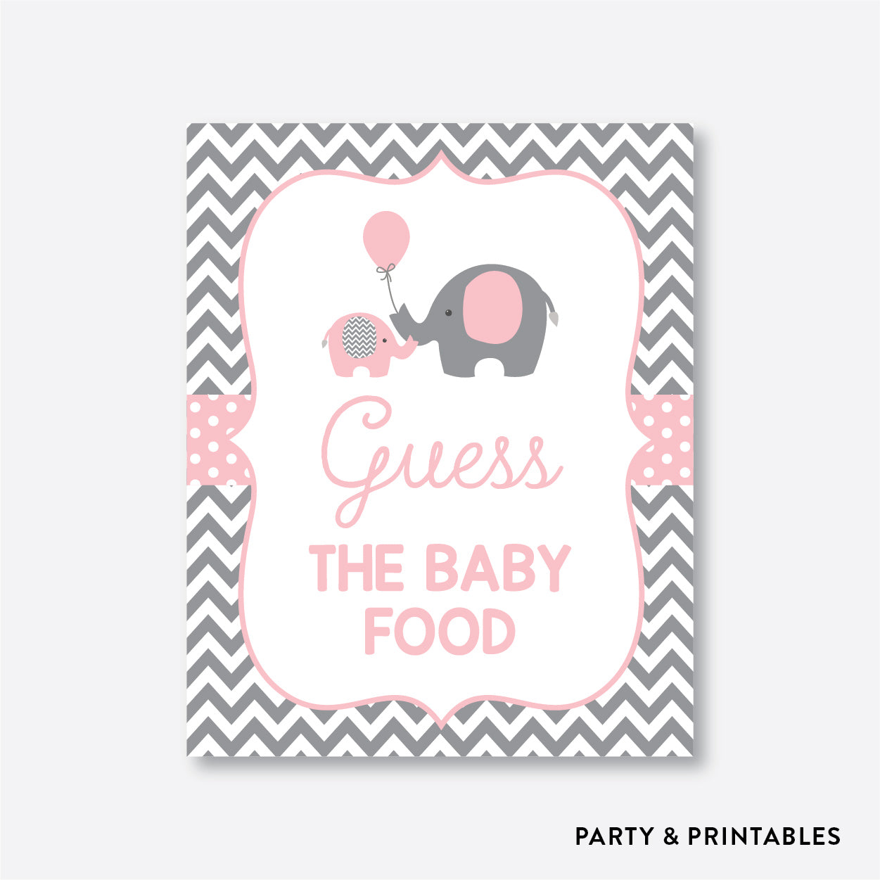 Elephant Guess The Baby Food / Non-Personalized / Instant Download (SBS.36)