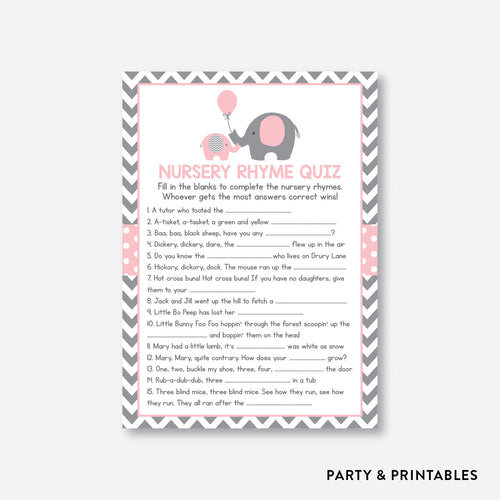 Elephant Nursery Rhyme Quiz / Non-Personalized / Instant Download (SBS.36)