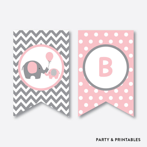 Elephant Party Banner / Baby Shower Banner / Non-Personalized / Instant Download (SBS.36)