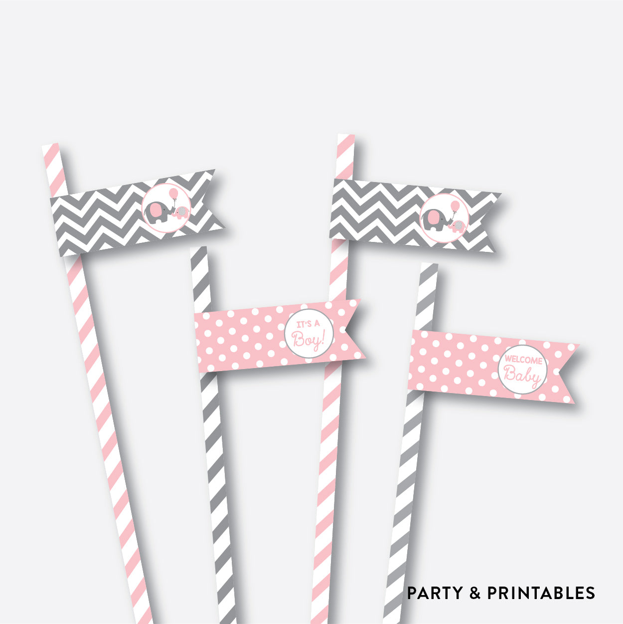 Elephant Straw Flags / Non-Personalized / Instant Download (SBS.36)