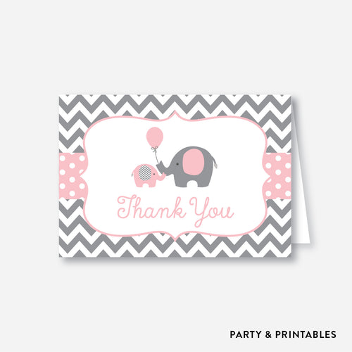 Elephant Baby Shower Thank You / Non-Personalized / Instant Download (SBS.36)