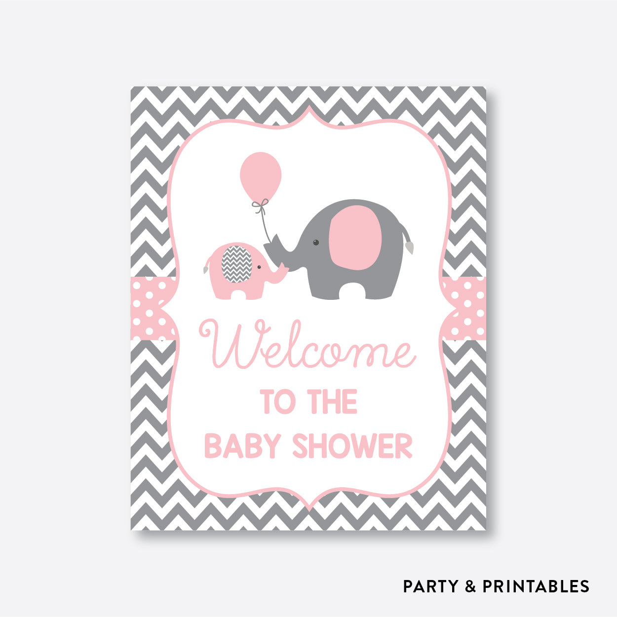 Elephant Welcome Sign / Non-Personalized / Instant Download (SBS.36)