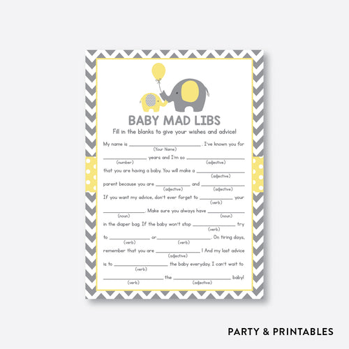 Elephant Mad Libs / Non-Personalized / Instant Download (SBS.37)