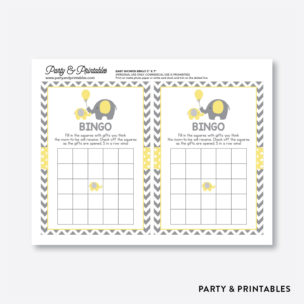 Elephant Bingo / Non-Personalized / Instant Download (SBS.37)