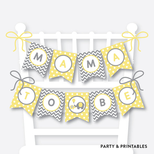 Yellow Elephant Chair Banner / Baby Shower Banner / Non-Personalized / Instant Download (SBS.37)