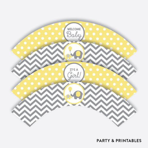Elephant Cupcake Wrappers / Non-Personalized / Instant Download (SBS.37)