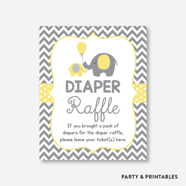 Elephant Diaper Raffle / Non-Personalized / Instant Download (SBS.37)