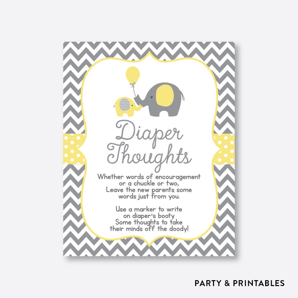 Elephant Diaper Thoughts / Non-Personalized / Instant Download (SBS.37)