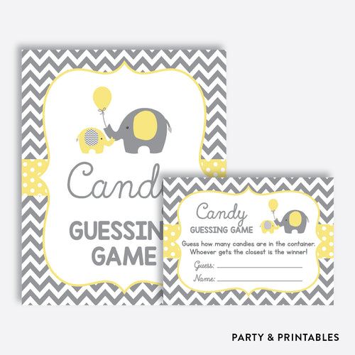 Elephant Guess How Many Candies / Non-Personalized / Instant Download (SBS.37)