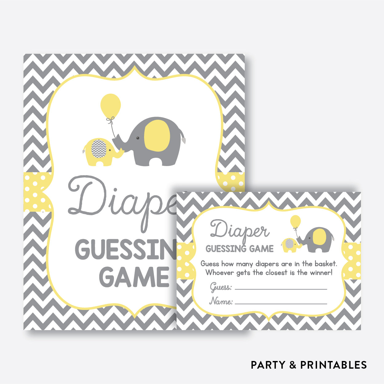 Elephant Guess How Many Diapers / Non-Personalized / Instant Download (SBS.37)
