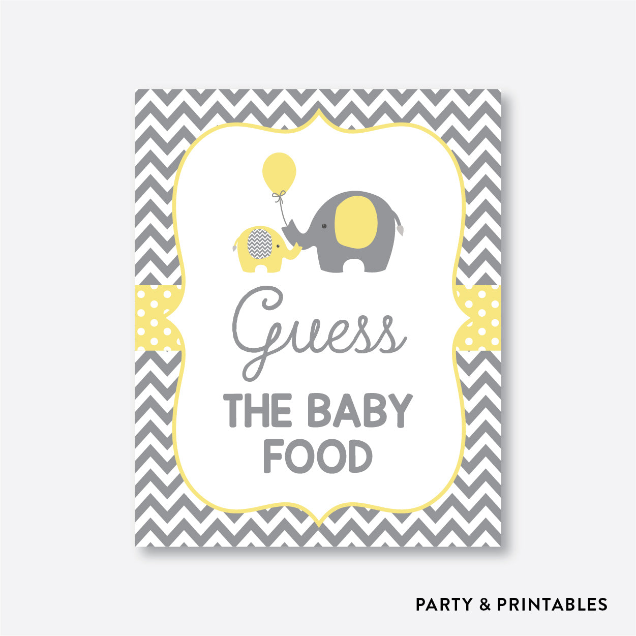 Elephant Guess The Baby Food / Non-Personalized / Instant Download (SBS.37)