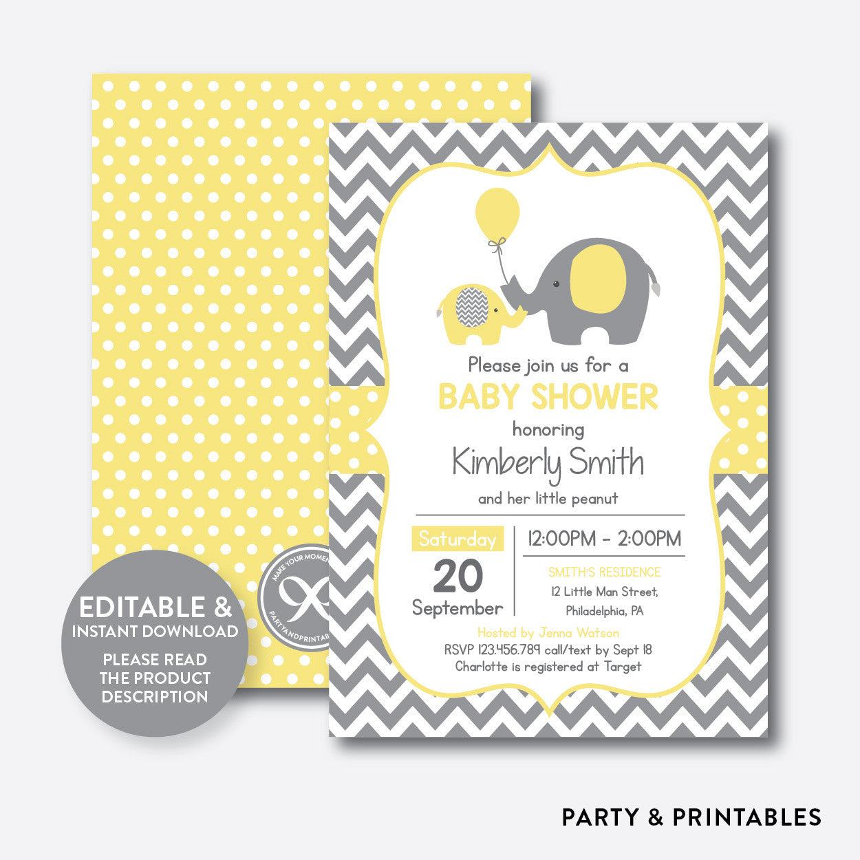 Elephant Baby Shower Invitation / Editable / Instant Download (SBS.37), invitation - Party and Printables