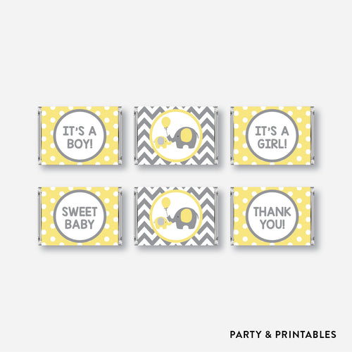 Elephant Mini Candy Bar Wrapper / Non-Personalized / Instant Download (SBS.37)