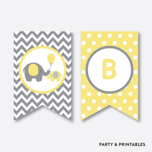 Elephant Party Banner / Baby Shower Banner / Non-Personalized / Instant Download (SBS.37)