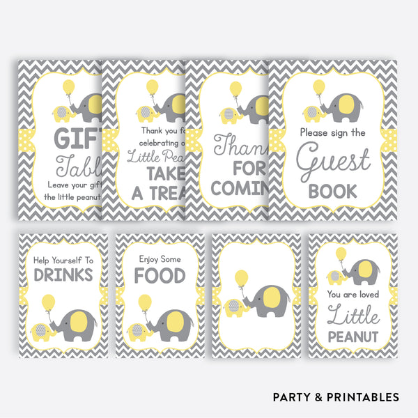 Elephant Party Signs / Non-Personalized / Instant Download (SBS.37)