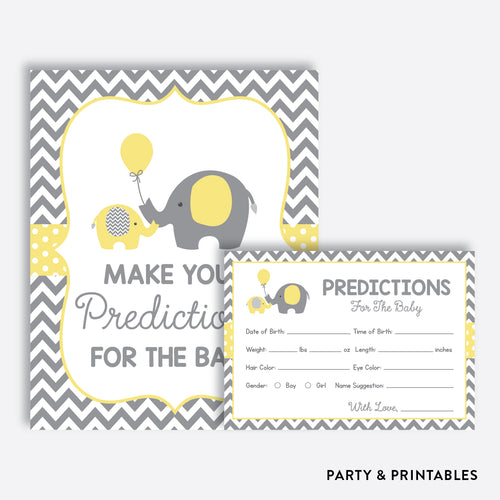 Yellow Elephant Predictions For The Baby / Non-Personalized / Instant Download (SBS.37)