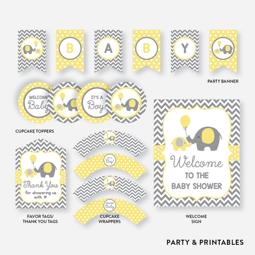 Elephant Standard Baby Shower Party Package / Non-Personalized / Instant Download (SBS.37)