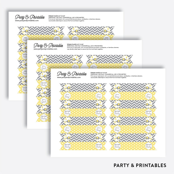 Elephant Straw Flags / Non-Personalized / Instant Download (SBS.37)