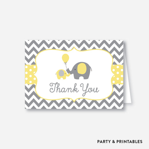 Elephant Baby Shower Thank You / Non-Personalized / Instant Download (SBS.37)