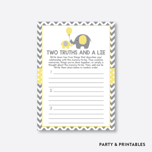 Elephant Two Truths And A Lie / Non-Personalized / Instant Download (SBS.37)