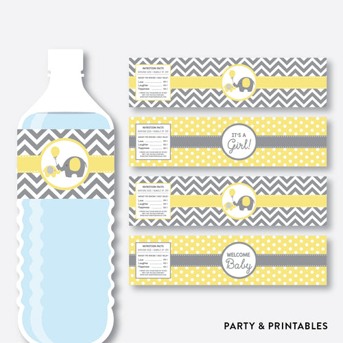 Elephant Water Bottle Labels / Non-Personalized / Instant Download (SBS.37)