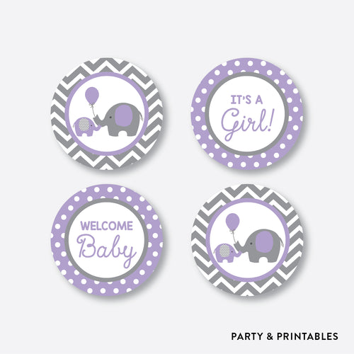 Elephant Cupcake Toppers / Non-Personalized / Instant Download (SBS.38)