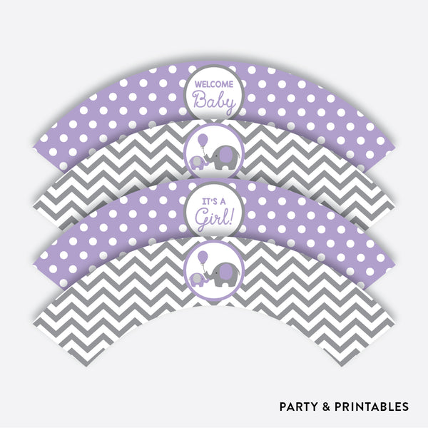 Elephant Cupcake Wrappers / Non-Personalized / Instant Download (SBS.38)