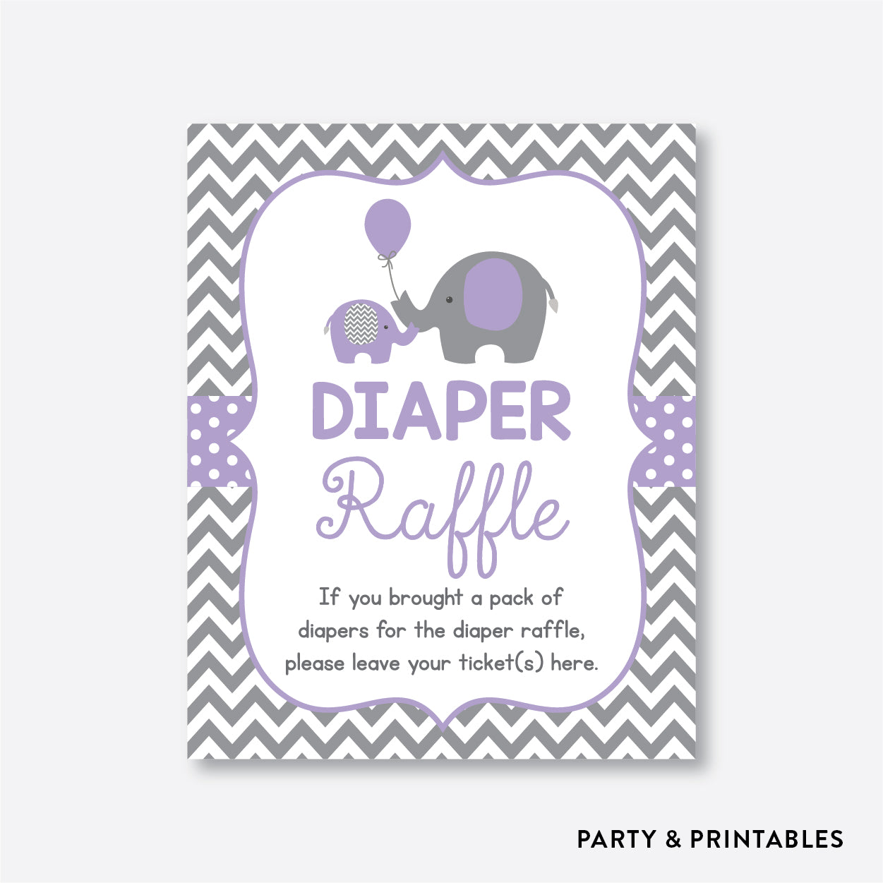 Elephant Diaper Raffle / Non-Personalized / Instant Download (SBS.38)