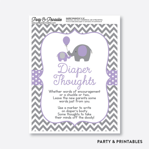 Elephant Diaper Thoughts / Non-Personalized / Instant Download (SBS.38)