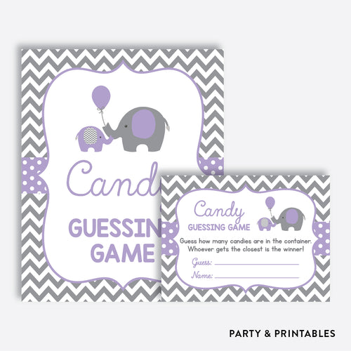 Elephant Guess How Many Candies / Non-Personalized / Instant Download (SBS.38)