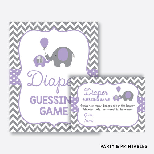 Elephant Guess How Many Diapers / Non-Personalized / Instant Download (SBS.38)