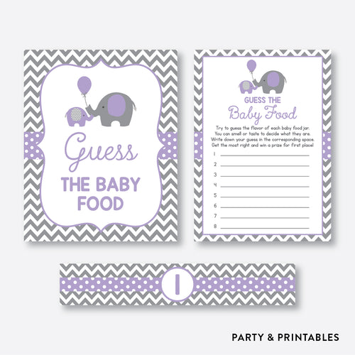 Elephant Guess The Baby Food / Non-Personalized / Instant Download (SBS.38)