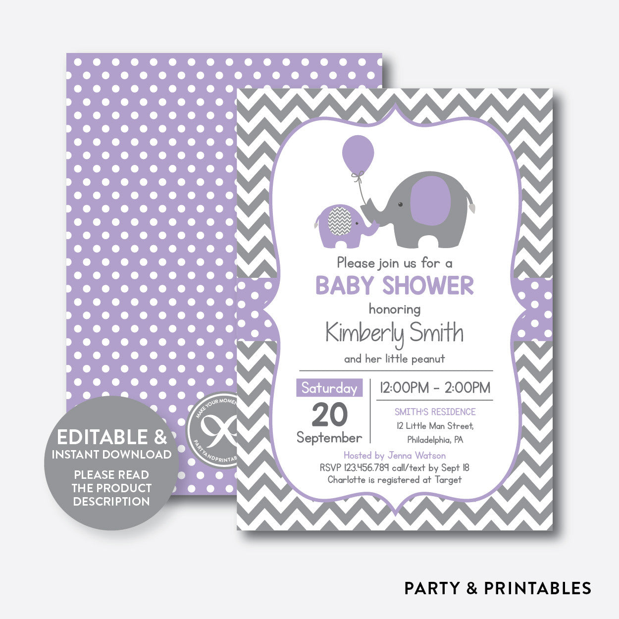 photo relating to Printable Elephant Baby Shower Invitations titled Elephant Kid Shower Invitation / Editable / Quick Down load (SBS.38)